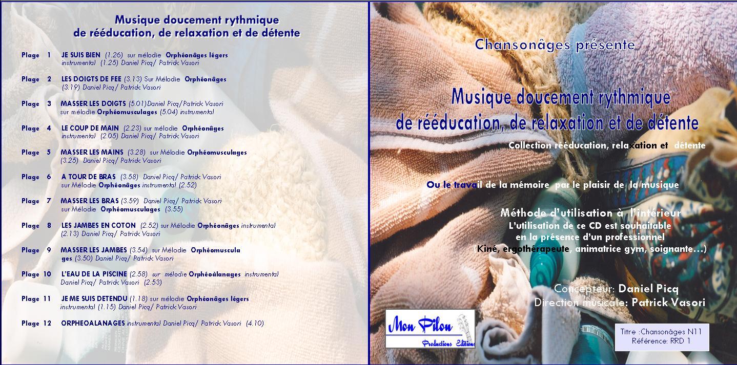 Jaquette cd musique doucement rythmique de re e ducation