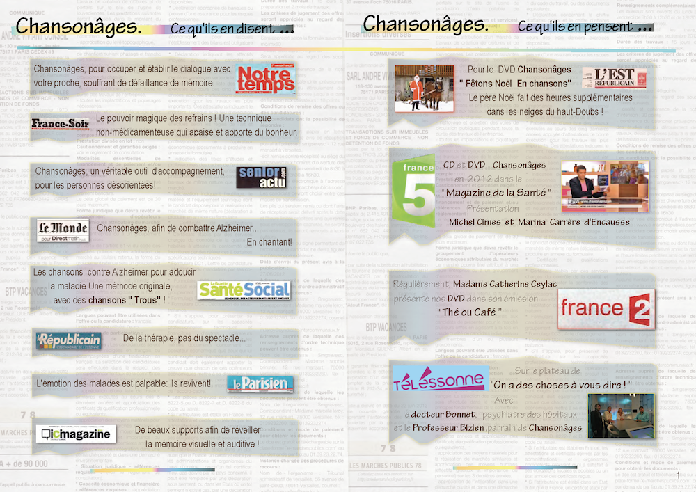 Page presse du catalogue chansonage 2013